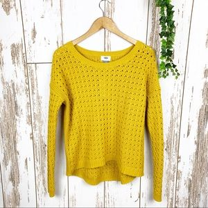 Ochre Yellow Open Textured Cable Knit Sweater EUC